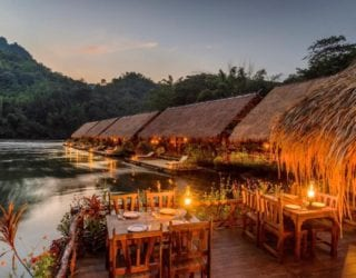 drijvende huisjes op de River Kwai: terras