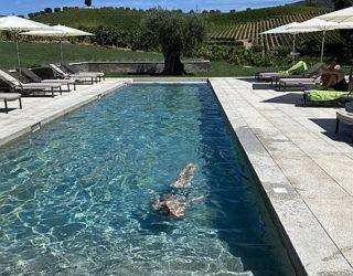 Mooie zwembad langs de wijnranken